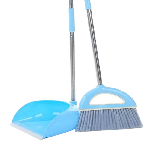 Durable Removable Broom and Dustpan Standing Upright Grips Sweep Set with Long Handle, #A2