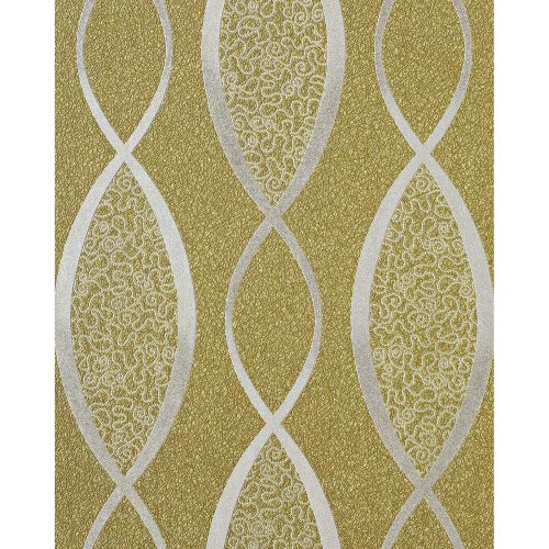EDEM 1018-15 fashion wallpaper design stripes cuved lines retro olive green grey