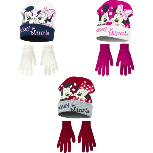 Disney Minnie Mouse Childrens Girls Mickey & Minnie Winter Hat And Gloves Set
