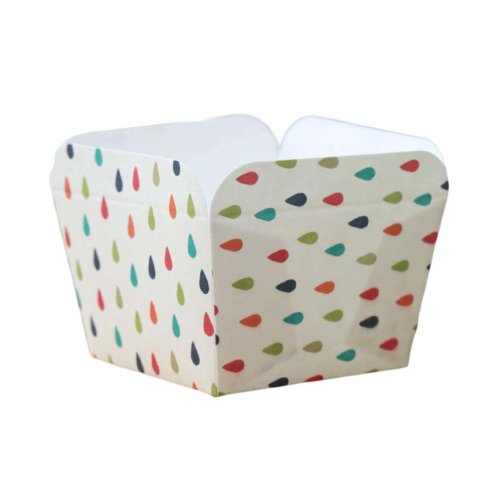 50 Pcs Paper Baking Cup Heat-Resistant Square Cupcake&Muffin Cup - Water Drops