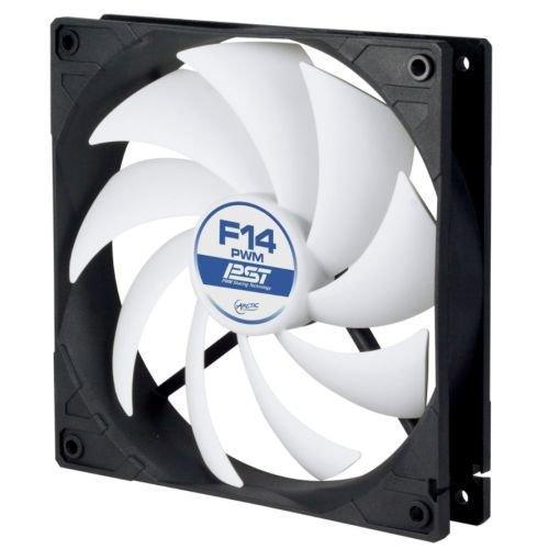 Arctic F14 PWM PST 14cm Case Fan, Black & White, 9 Blades, Fluid Dynamic, 6 Year Warranty