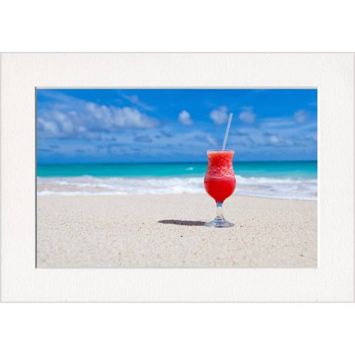 Cocktail on the Beach Print in a Textured Card Picture Mount to put into your own frame