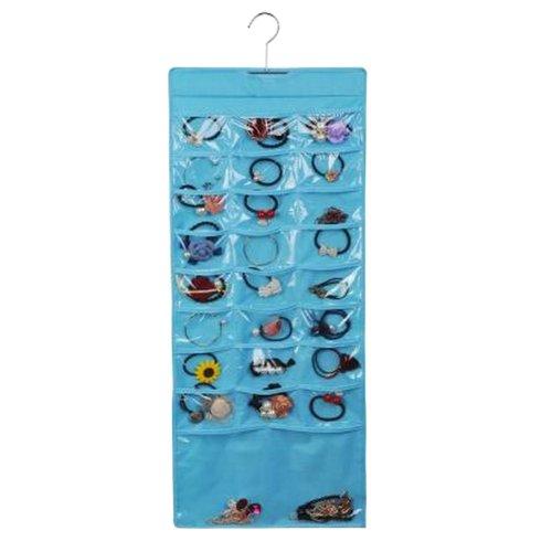 Double-sided Oxford Cloth Jewelry Storage Bag Transparent Wardrobe [Blue]