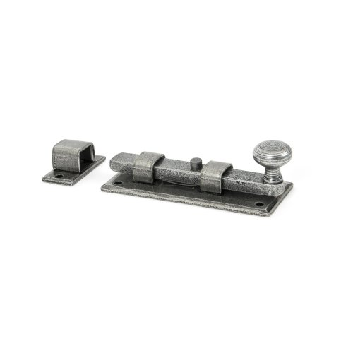 From the Anvil 4-inch Handmade Straight Knob Door Bolt - Pewter
