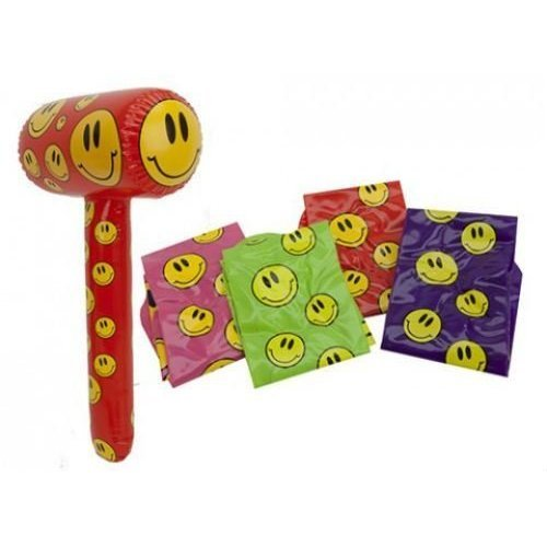 """28"""" Happy Face Basher - Inflatable - New 28 Hammer Smiley Big Bashers Pms -  new inflatable 28 basher hammer smiley face big bashers pms pink"""