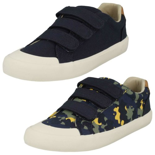Boys Clarks Canvas Casual Shoes Comic Trick - G Fit