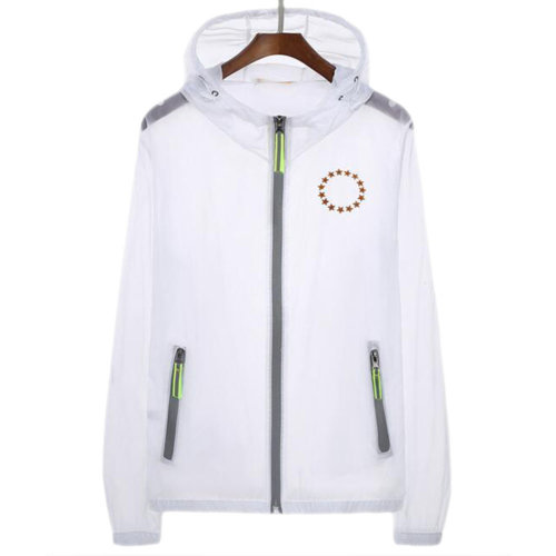 Waterproof Luminous Sun Protective Feather Clothing Cycling Climbing Long Sleeve Shirts-White