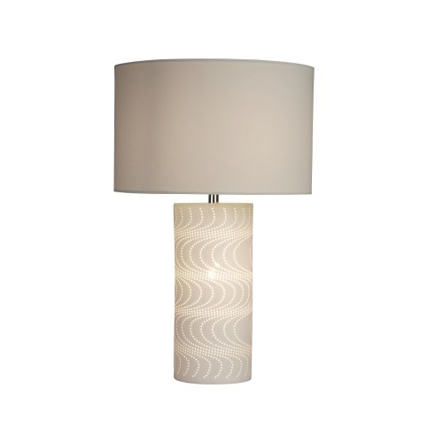 Searchlight Wave Pattern White Ceramic Dual Light Table Lamp