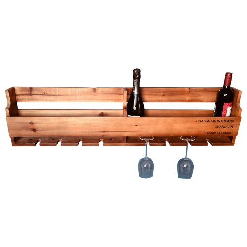 Wooden Wine Box & Glass Storage Rack 10 Bottles 8 Glasses Wall Mounted
