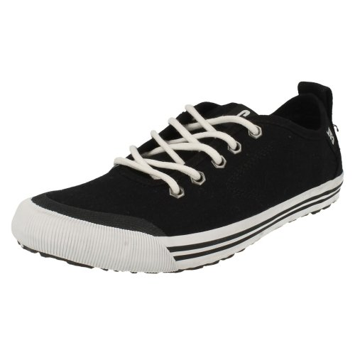Mens CAT Casual Shoes Alias Canvas - Black Canvas - UK Size 4 - EU Size 37 - US Size 5