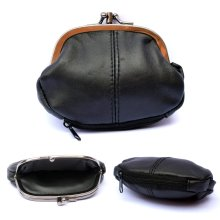 Ladies Small Soft REAL Leather CLASP Purse Clip Top Coin Purse One ZIP