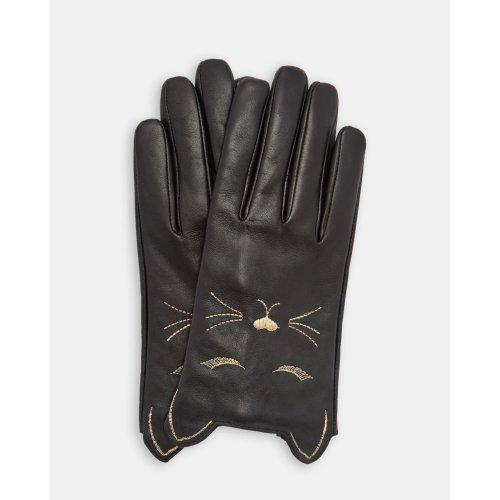 CAAT CAT DETAIL LEATHER GLOVES BLACK
