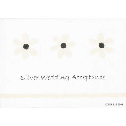Silver 25th Wedding Anniversary Party Acceptance Card by Jean Barrington