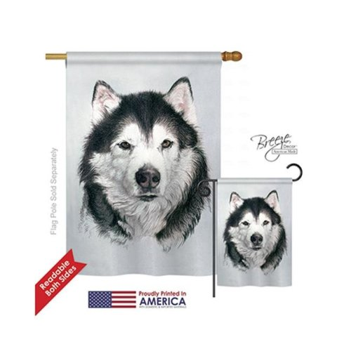 Breeze Decor 10092 Pets Husky 2-Sided Vertical Impression House Flag - 28 x 40 in.