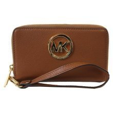 Michael Kors Fulton Luggage Brown Large Flat Leather Phone Case - Brown - 32H5GFTE4L-230