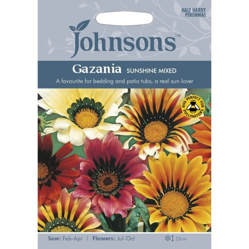 Johnsons Seeds - Pictorial Pack - Flower - Gazania Sunshine Mixed - 25 Seeds