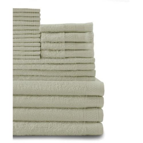 Belvedere Row Multi Count 100 Percent Cotton Complete Towel Set, Thyme Green - 24 Piece