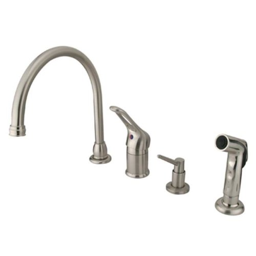 Kingston Brass KB818K8 Single Loop Handle Kitchen Faucet with Soap Dispenser and Side Sprayer