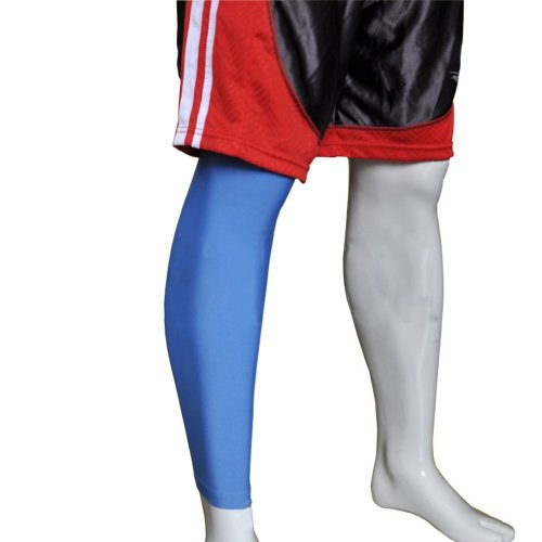 """[AZURE] 17.7"""" Long Compression Basketball Leg Sleeve One Pic, Size Middle"""
