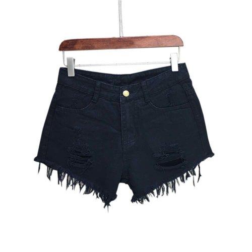 Simple Design High Waist Jeans Shorts Denim Shorts for Women, B