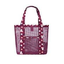 Travel Portable Bath Bag Mesh Swimming Packs Shoulder Bag-Red