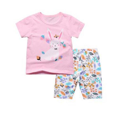 Cute Girl Cartoon Pajamas Cotton Kids Clothes Short Sets Children Sleepwear