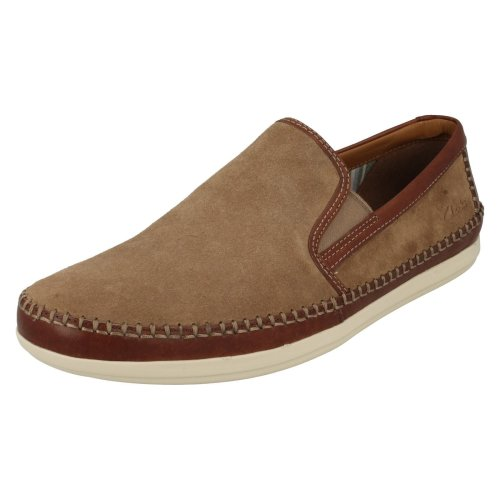 Mens Clarks Casual Slip On Shoes Mask Way - Wolf Suede Leather - UK Size 7G - EU Size 41 - US Size 8M