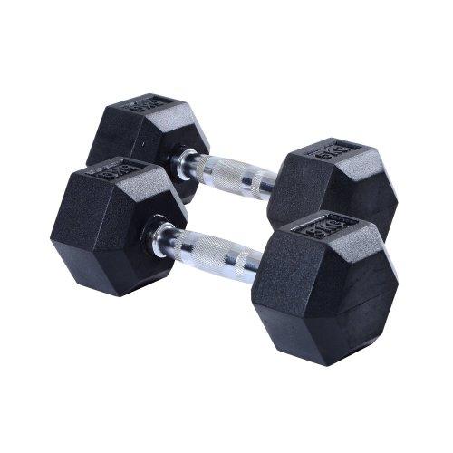 (2 x 5KG) Homcom Rubber Dumbbells   Hexagonal Weights