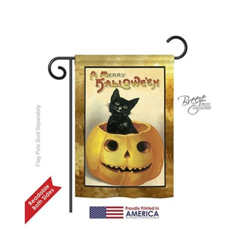 Breeze Decor 62065 Halloween Merry Halloween 2-Sided Impression Garden Flag - 13 x 18.5 in.