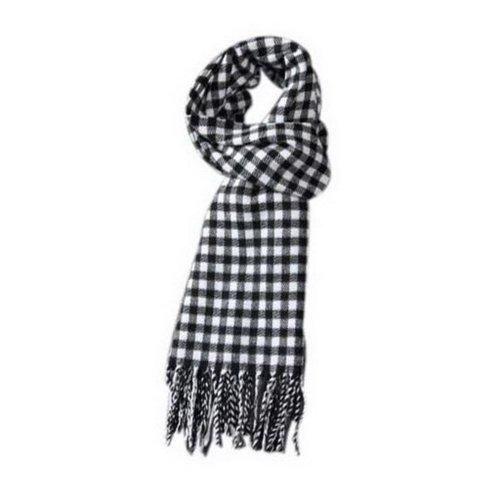 Classic Black White Lattice Style Winter Warm Scarf Valentine's Day Gift For Men