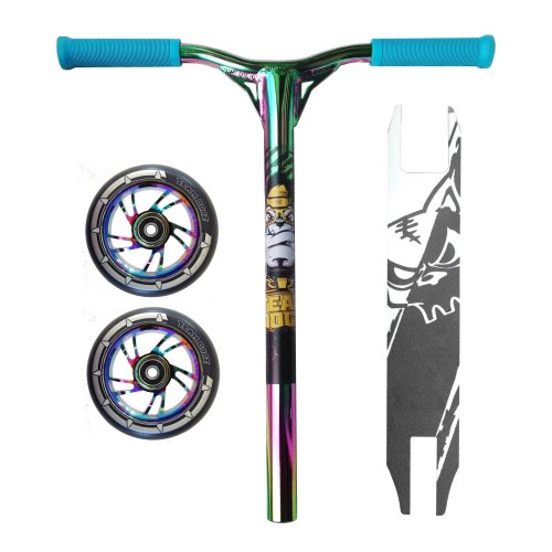 Combo Scooter Rainbow Bars Handlebars + Grip Tape + Black Wheels 100mm