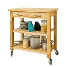 SoBuy® FKW24-N, Rubber Wood Kitchen Storage Trolley 2 Drawers 2 Shelves