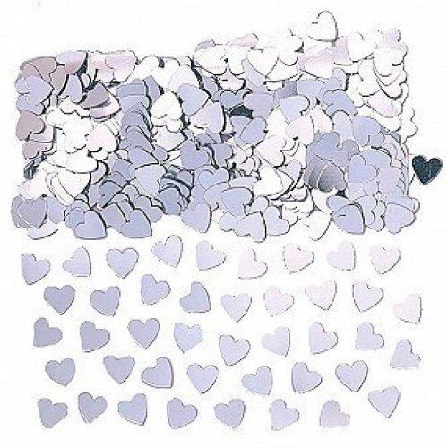 Sparkle Hearts Silver Metallic Confetti 14g -