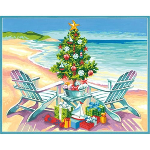 "Dpw91616 - Paintsworks Learn to Paint 14"" X 11"" - Christmas on the Beach"