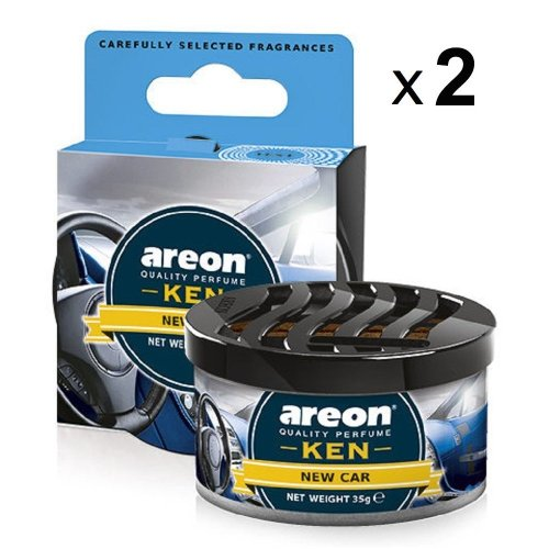 AREON Ken Car Air Freshener New Car Smell Scent Tin Can Mini Top Up Long Lasting Adjustable Vented Lid Home Room 3D Pack of 2