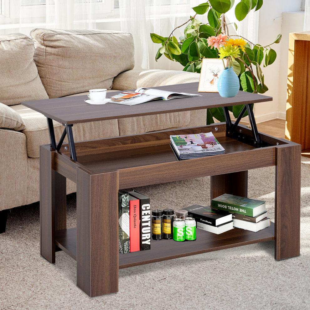 Homcom 100cm Modern Lift Up Top Coffee Table Desk Hidden Storage