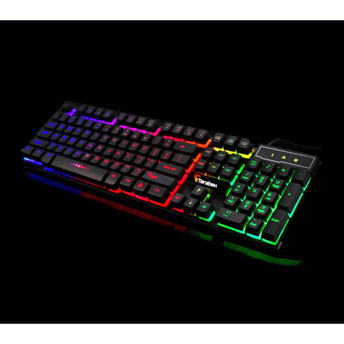 Terabex Semi Mechanical Gaming Keyboard Rainbow Backlit Anti Ghosting