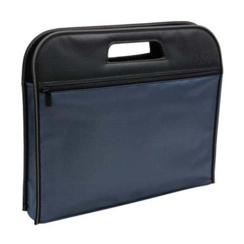 Multilayer Thicker File Holder Zippe Briefcase Information Bag-Blue