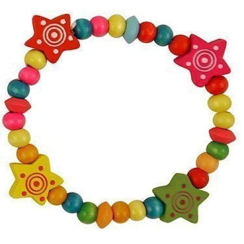 Childrens Wooden Beaded Bracelet 16cm - One Childrens Wooden Beaded Elasticated Bracelet 16cm Assorted Colours And Designs