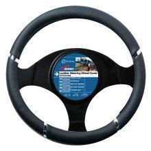 37-39cm Black Speed Design Wheel Cover - Steering Universal Chrome -  black steering wheel cover speed universal chrome