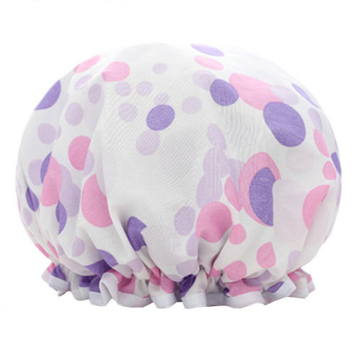 Womens Stylish Design Mold-resistant Shower Cap Double Layers Waterproof Bath Cap,C