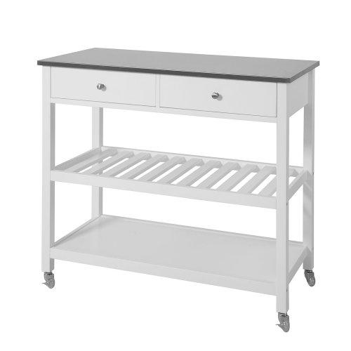 sobuy® fkw47-w, kitchen storage trolley with stainless steel worktop