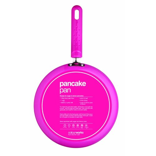 KitchenCraft Colourworks Pink 24cm Crêpe Pan | Non-Stick Pancake Pan