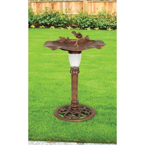 Solar Powered LED Traditional Ornamental Bird Bath Garden Outdoor Patio Water