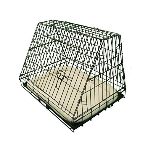 Ellie-Bo Deluxe Sloping Puppy Cage Folding Dog Crate with Non-Chew Metal Tray Fleece and Slanted Front for Car, Medium, 30-inch, Black