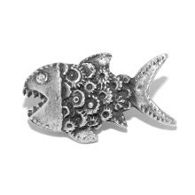Small Steampunk Cog Fish Pewter Pin Badge / Brooch