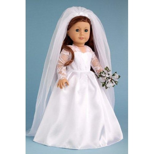 Princess Kate Royal Wedding Dress With White Leather Shoes And Tulle Veil 18 Inch Doll Clothes Doll Not Included