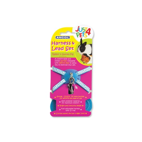 Just 4 Pets Rabbit & Small Animal H'ness&lead Set Blue Polka (Pack of 3)