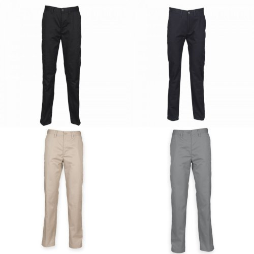 Henbury Mens 65/35 Flat Fronted Chino Trousers