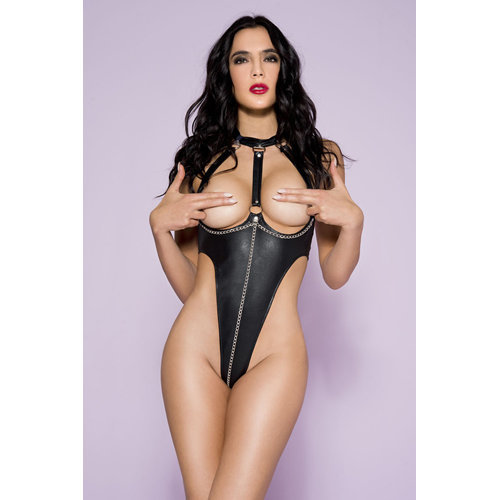 Wetlook Body With Lacing And Open Cups Large Ladies Lingerie Body - Music Legs